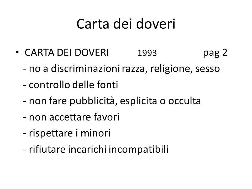 Carta dei doveri CARTA DEI DOVERI 1993 pag 2 - no a discriminazioni razza, religione, sesso - controllo delle fonti - non fare pubblicità, esplicita o