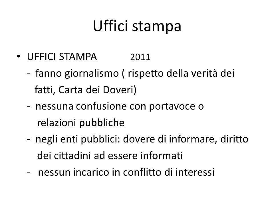 Uffici stampa UFFICI STAMPA 2011 - fanno giornalismo ( rispetto della verità dei fatti, Carta dei Doveri) - nessuna confusione con portavoce o relazio