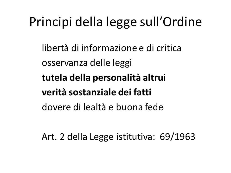 Principi della legge sull'Ordine libertà di informazione e di critica osservanza delle leggi tutela della personalità altrui verità sostanziale dei fa