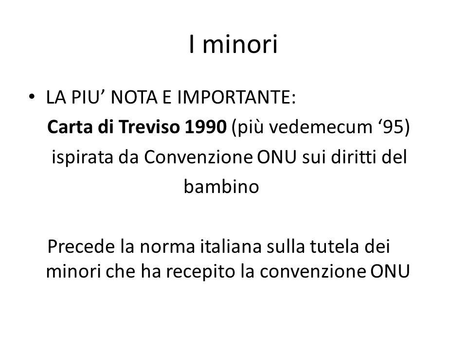 I minori LA PIU' NOTA E IMPORTANTE: Carta di Treviso 1990 (più vedemecum '95) ispirata da Convenzione ONU sui diritti del bambino Precede la norma ita