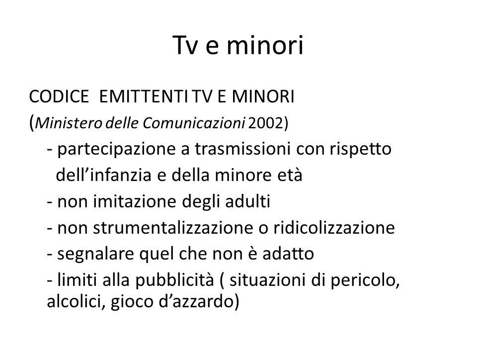 Tv e minori CODICE EMITTENTI TV E MINORI ( Ministero delle Comunicazioni 2002) - partecipazione a trasmissioni con rispetto dell'infanzia e della mino