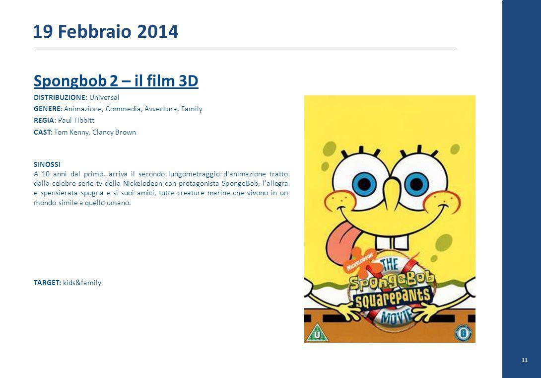 Spongbob 2 – il film 3D DISTRIBUZIONE: Universal GENERE: Animazione, Commedia, Avventura, Family REGIA: Paul Tibbitt CAST: Tom Kenny, Clancy Brown SIN