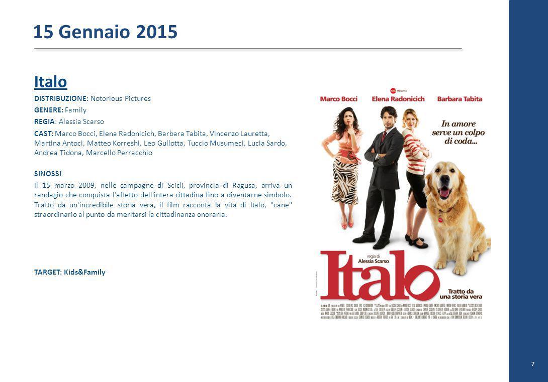 Italo DISTRIBUZIONE: Notorious Pictures GENERE: Family REGIA: Alessia Scarso CAST: Marco Bocci, Elena Radonicich, Barbara Tabita, Vincenzo Lauretta, M