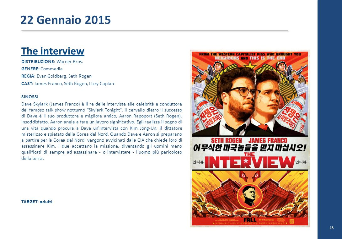 The interview DISTRIBUZIONE: Warner Bros.