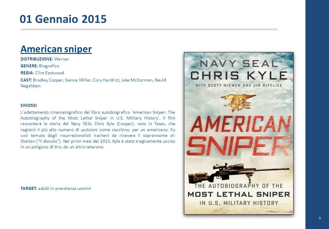 American sniper DISTRIBUZIONE: Warner GENERE: Biografico REGIA: Clint Eastwood CAST: Bradley Cooper, Sienna Miller, Cory Hardrict, Jake McDorman, Navi