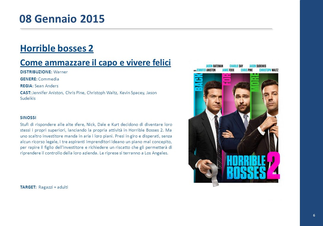 Horrible bosses 2 Come ammazzare il capo e vivere felici DISTRIBUZIONE: Warner GENERE: Commedia REGIA: Sean Anders CAST: Jennifer Aniston, Chris Pine, Christoph Waltz, Kevin Spacey, Jason Sudeikis SINOSSI Stufi di rispondere alle alte sfere, Nick, Dale e Kurt decidono di diventare loro stessi i propri superiori, lanciando la propria attività in Horrible Bosses 2.