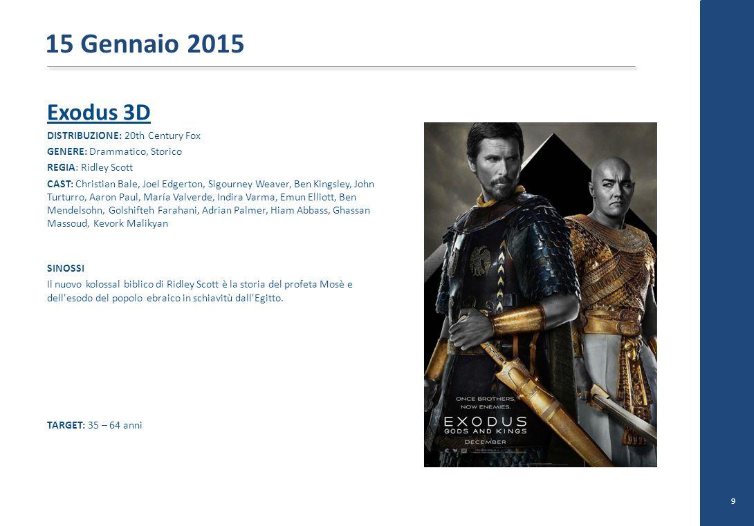 Exodus 3D DISTRIBUZIONE: 20th Century Fox GENERE: Drammatico, Storico REGIA: Ridley Scott CAST: Christian Bale, Joel Edgerton, Sigourney Weaver, Ben K
