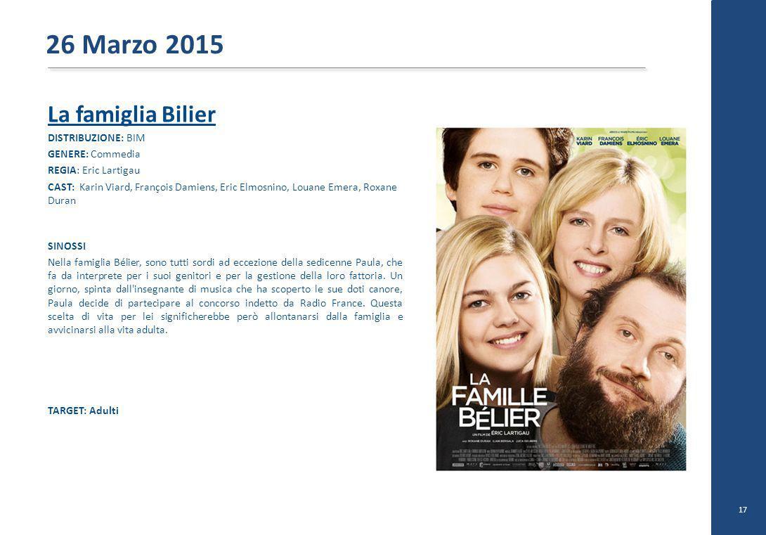 La famiglia Bilier DISTRIBUZIONE: BIM GENERE: Commedia REGIA: Eric Lartigau CAST: Karin Viard, François Damiens, Eric Elmosnino, Louane Emera, Roxane