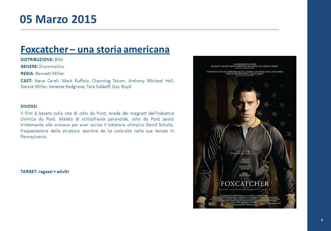 Foxcatcher – una storia americana DISTRIBUZIONE: BIM GENERE: Drammatico REGIA: Bennett Miller CAST: Steve Carell, Mark Ruffalo, Channing Tatum, Anthon