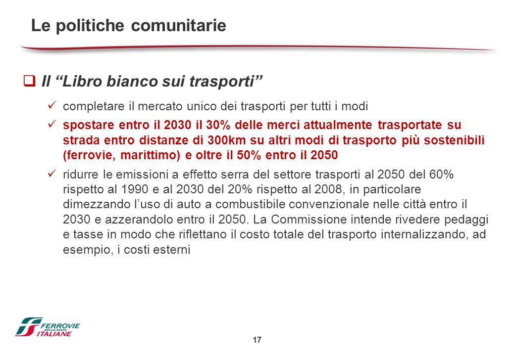 """17  Il """"Libro bianco sui trasporti"""" completare il mercato unico dei trasporti per tutti i modi spostare entro il 2030 il 30% delle merci attualmente"""