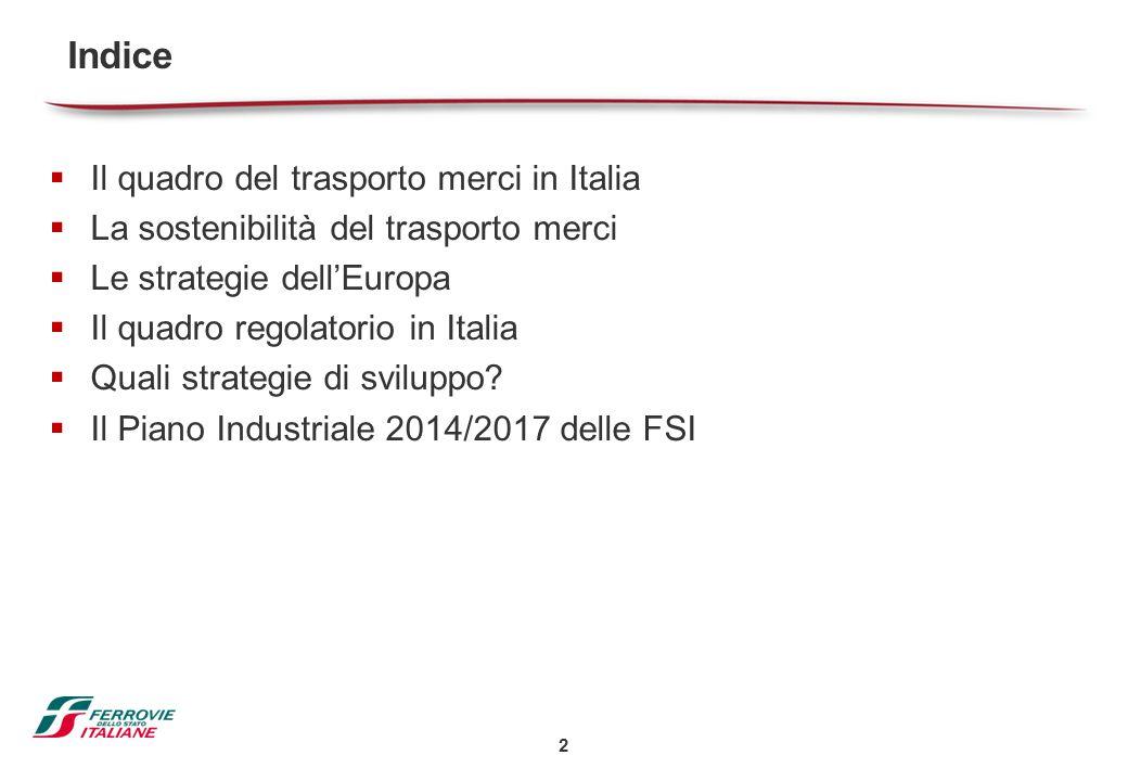 2  Il quadro del trasporto merci in Italia  La sostenibilità del trasporto merci  Le strategie dell'Europa  Il quadro regolatorio in Italia  Qual