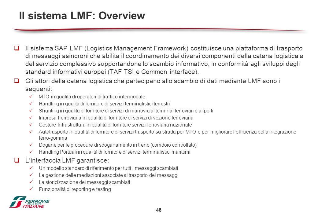 46 Il sistema LMF: Overview  Il sistema SAP LMF (Logistics Management Framework) costituisce una piattaforma di trasporto di messaggi asincroni che a