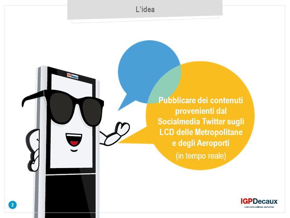 3 L'idea 3 Utilizzo i contenuti di una community già attiva su Twitter (specifico hashtag) per fare una comunicazione sugli LCD sempre aggiornata e dal basso (creata dai consumatori) B.