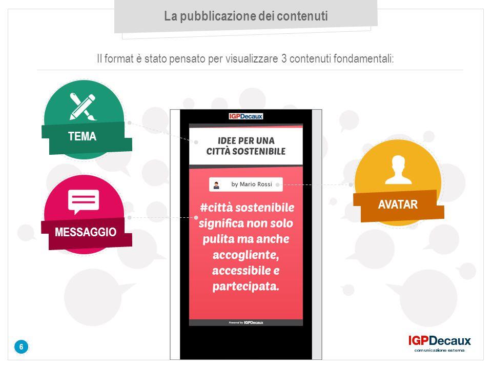 6 La pubblicazione dei contenuti Il format è stato pensato per visualizzare 3 contenuti fondamentali: TEMA AVATAR MESSAGGIO 6