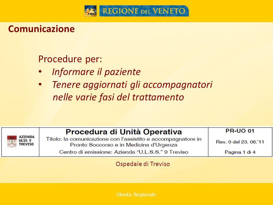 Giunta Regionale Procedure per: Informare il paziente Tenere aggiornati gli accompagnatori nelle varie fasi del trattamento Comunicazione Ospedale di Treviso