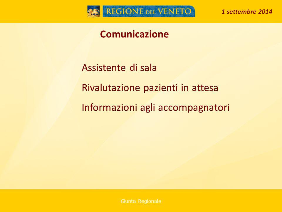 Giunta Regionale Comunicazione 1 settembre 2014