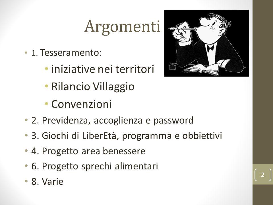 Argomenti 1. Tesseramento: iniziative nei territori Rilancio Villaggio Convenzioni 2.