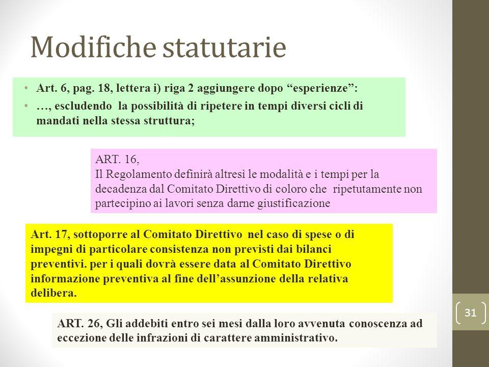 """Modifiche statutarie Art. 6, pag. 18, lettera i) riga 2 aggiungere dopo """"esperienze"""": …, escludendo la possibilità di ripetere in tempi diversi cicli"""