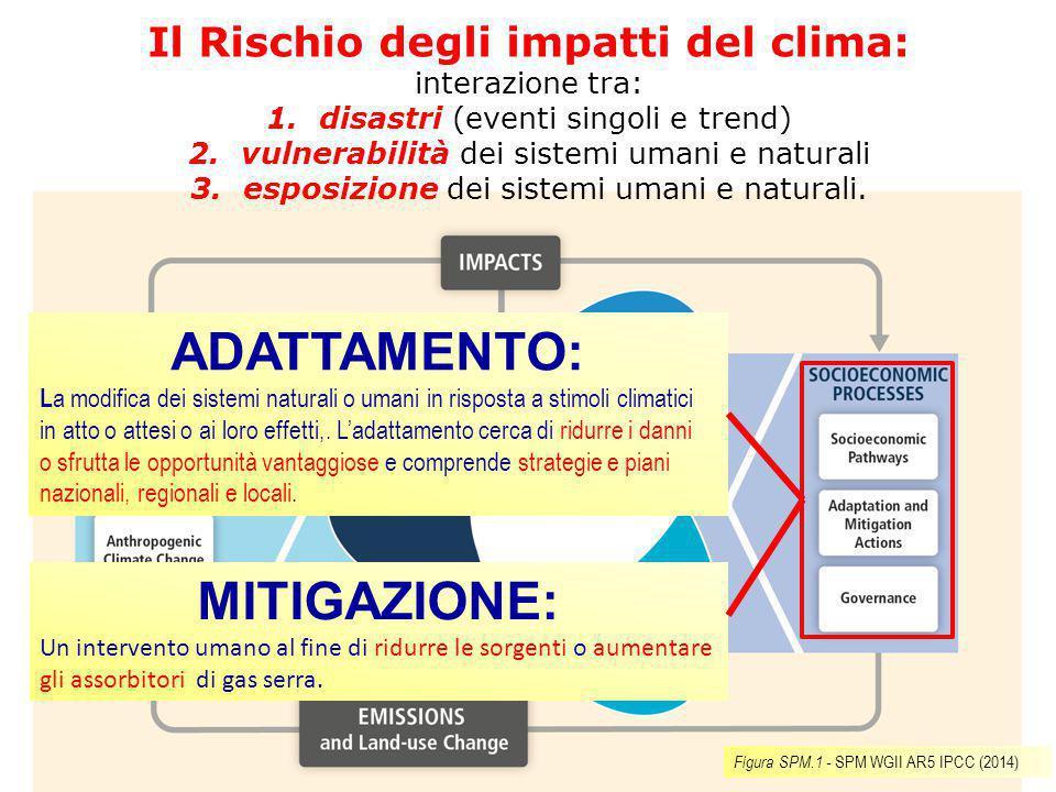 Il Rischio degli impatti del clima: interazione tra: 1.disastri (eventi singoli e trend) 2.vulnerabilità dei sistemi umani e naturali 3.esposizione de