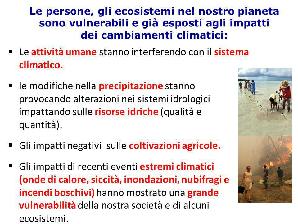 Le persone, gli ecosistemi nel nostro pianeta sono vulnerabili e già esposti agli impatti dei cambiamenti climatici:  Le attività umane stanno interf