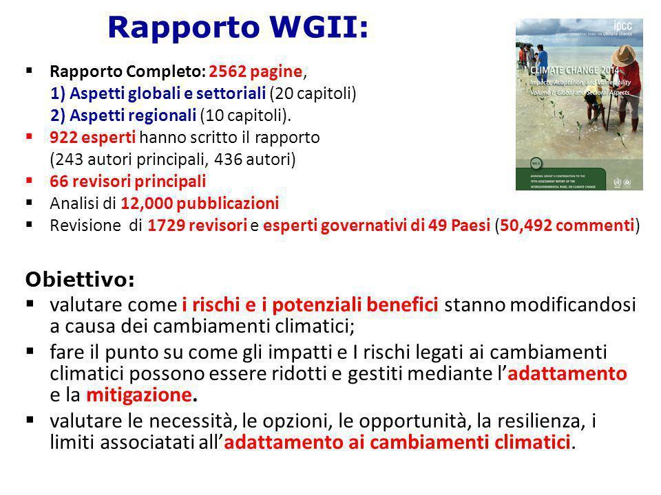 Rapporto WGII:  Rapporto Completo: 2562 pagine, 1) Aspetti globali e settoriali (20 capitoli) 2) Aspetti regionali (10 capitoli).  922 esperti hanno