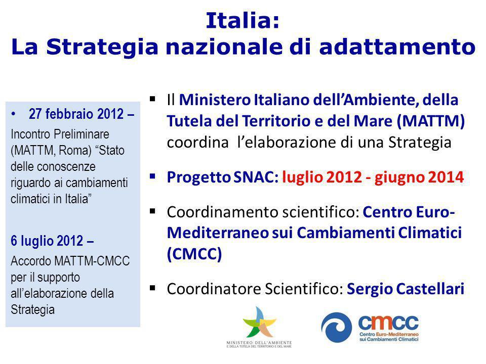 """Italia: La Strategia nazionale di adattamento 27 febbraio 2012 – Incontro Preliminare (MATTM, Roma) """"Stato delle conoscenze riguardo ai cambiamenti cl"""