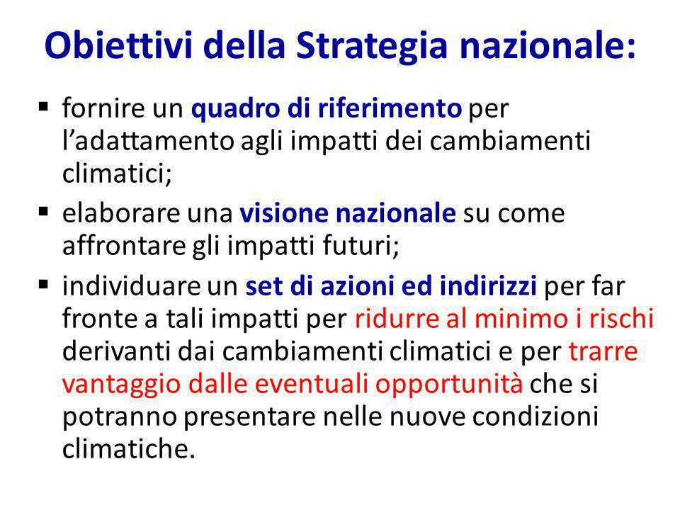 Obiettivi della Strategia nazionale:  fornire un quadro di riferimento per l'adattamento agli impatti dei cambiamenti climatici;  elaborare una visi