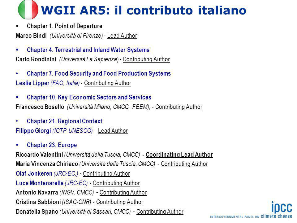 WGII AR5: il contributo italiano  Chapter 1. Point of Departure Marco Bindi (Università di Firenze) - Lead Author  Chapter 4. Terrestrial and Inland