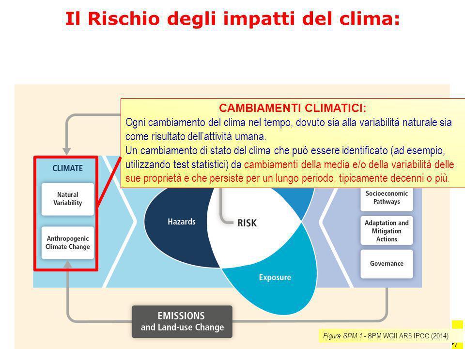 Figura SPM.1 SPM WGII AR5 IPCC (2014) Il Rischio degli impatti del clima: CAMBIAMENTI CLIMATICI: Ogni cambiamento del clima nel tempo, dovuto sia alla
