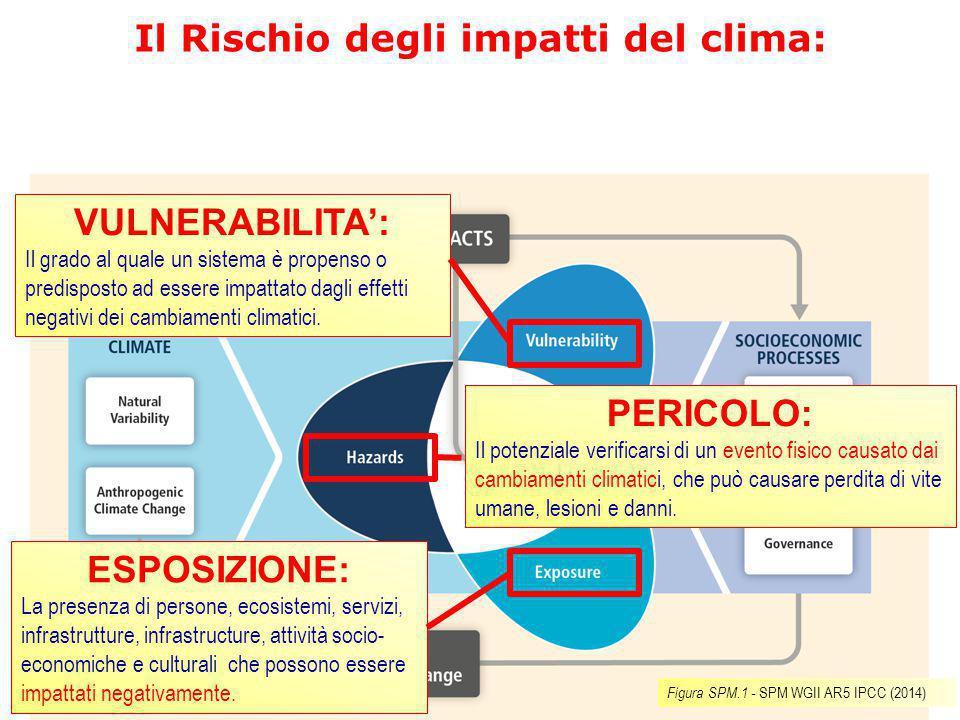 Il Rischio degli impatti del clima: VULNERABILITA': Il grado al quale un sistema è propenso o predisposto ad essere impattato dagli effetti negativi d