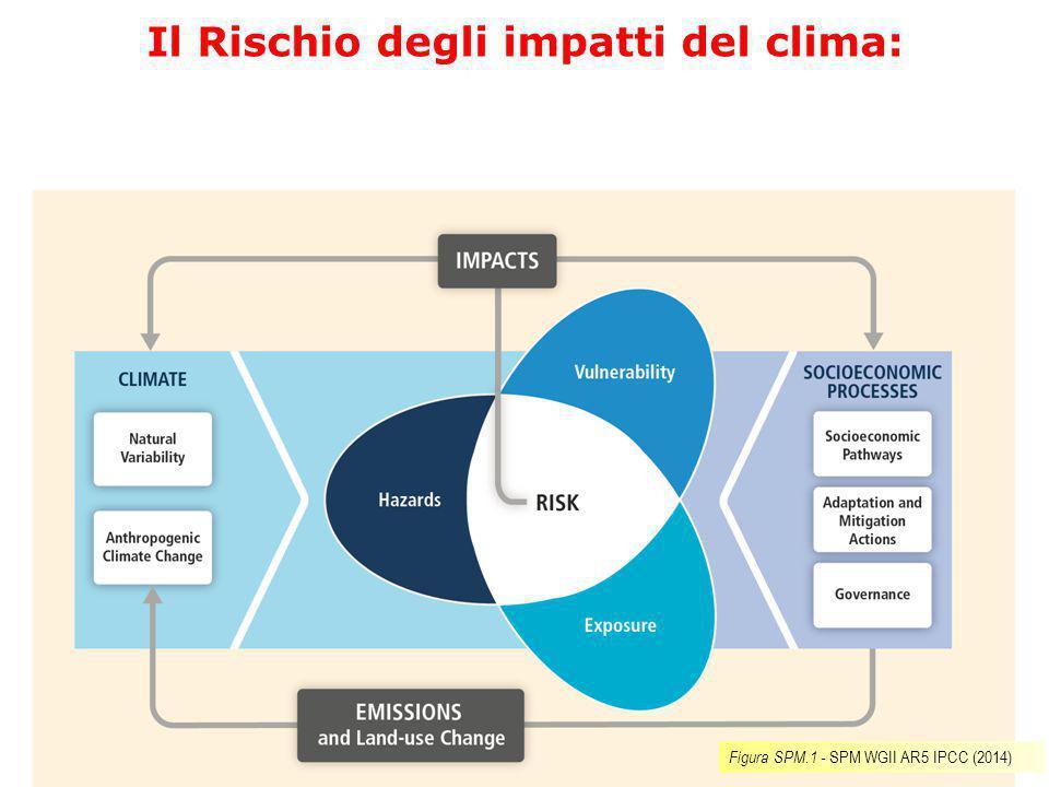 Il Rischio degli impatti del clima: interazione tra: 1.disastri (eventi singoli e trend) 2.vulnerabilità dei sistemi umani e naturali 3.esposizione dei sistemi umani e naturali.