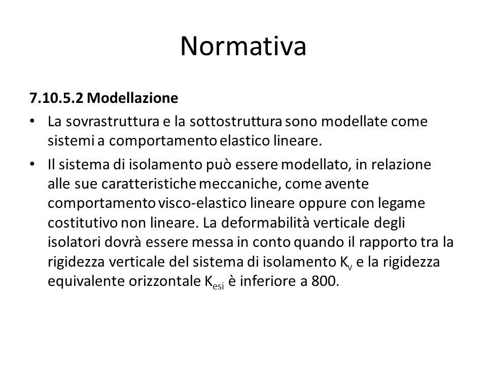 Normativa 7.10.5.2 Modellazione La sovrastruttura e la sottostruttura sono modellate come sistemi a comportamento elastico lineare. Il sistema di isol