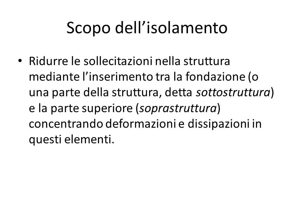 Scopo dell'isolamento Ridurre le sollecitazioni nella struttura mediante l'inserimento tra la fondazione (o una parte della struttura, detta sottostru