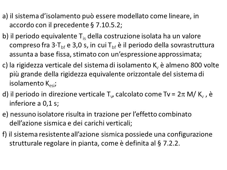 a) il sistema d'isolamento può essere modellato come lineare, in accordo con il precedente § 7.10.5.2; b) il periodo equivalente T is della costruzion