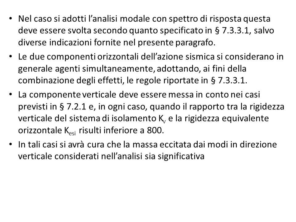 Nel caso si adotti l'analisi modale con spettro di risposta questa deve essere svolta secondo quanto specificato in § 7.3.3.1, salvo diverse indicazio