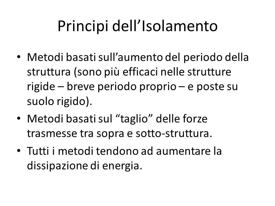 Principi dell'Isolamento Metodi basati sull'aumento del periodo della struttura (sono più efficaci nelle strutture rigide – breve periodo proprio – e