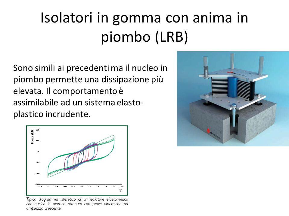 Isolatori in gomma con anima in piombo (LRB) Sono simili ai precedenti ma il nucleo in piombo permette una dissipazione più elevata. Il comportamento