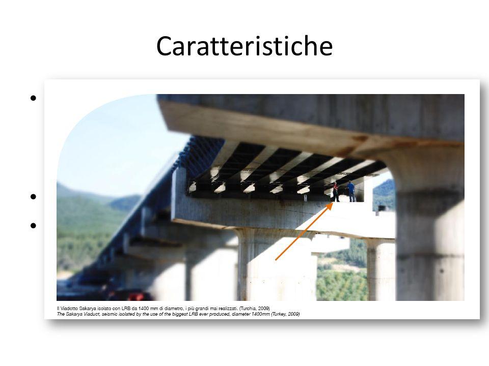 Caratteristiche Questi isolatori sostengono sia il carico verticale sia le forze di taglio. L'area è condizionata da N, la deformabilità (periodo) dip