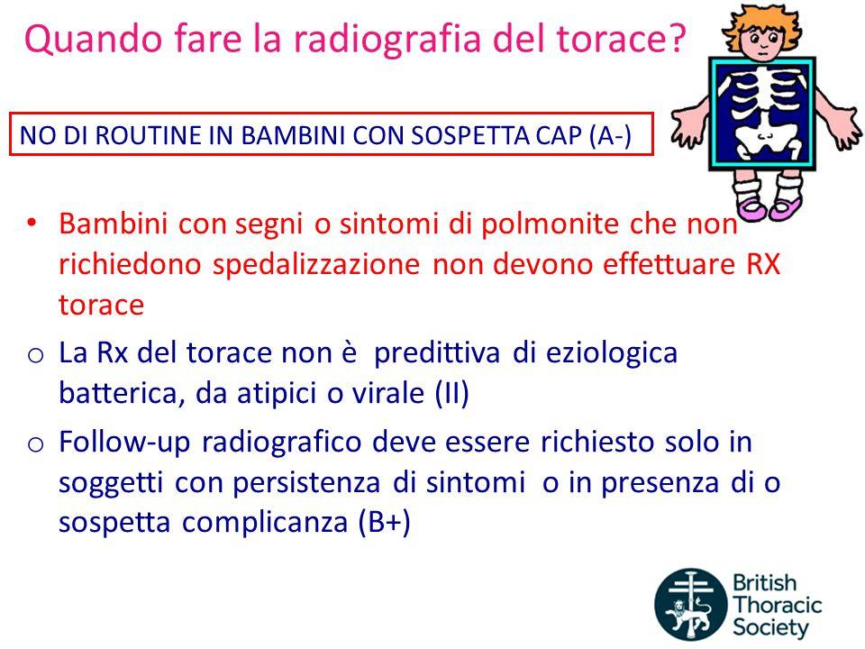 Quando fare la radiografia del torace? Bambini con segni o sintomi di polmonite che non richiedono spedalizzazione non devono effettuare RX torace o L