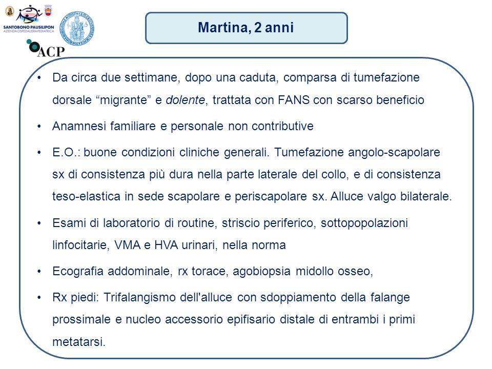 """Martina, 2 anni Da circa due settimane, dopo una caduta, comparsa di tumefazione dorsale """"migrante"""" e dolente, trattata con FANS con scarso beneficio"""