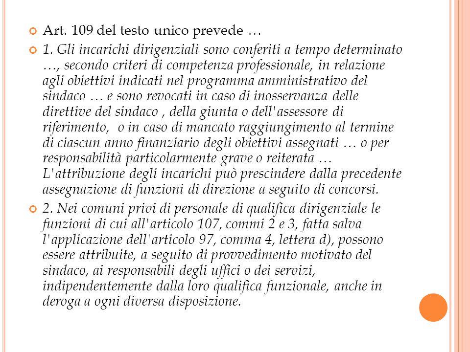 Art. 109 del testo unico prevede … 1.