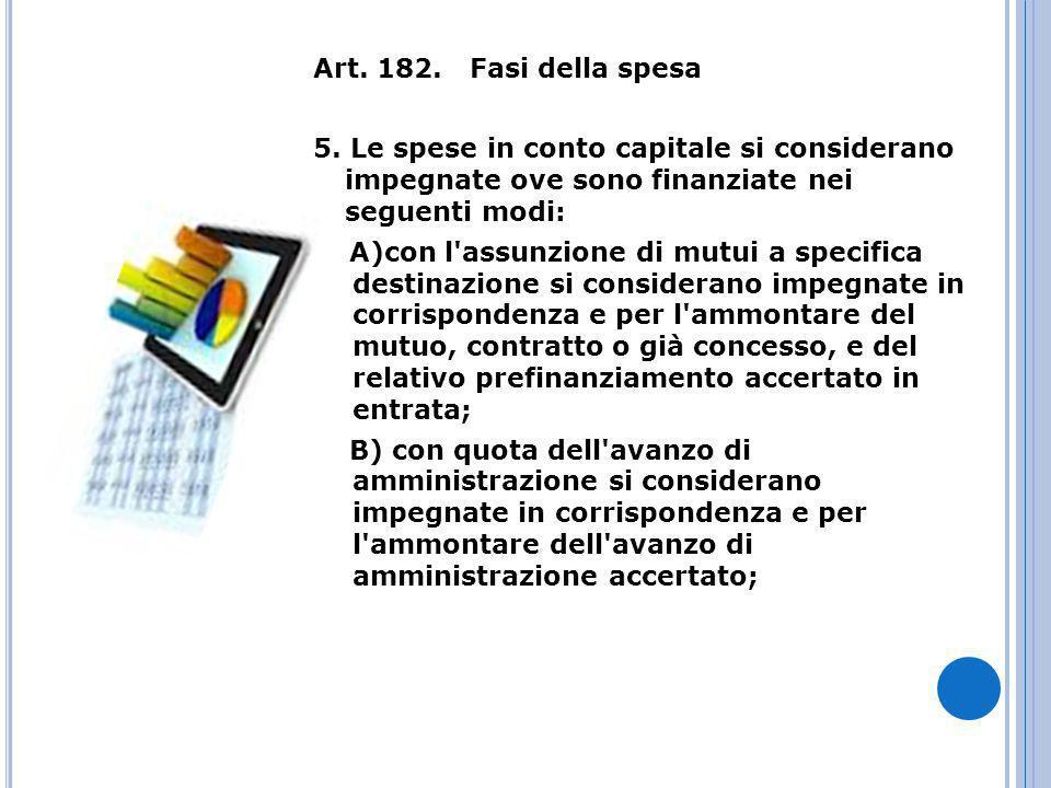 Art. 182. Fasi della spesa 5. Le spese in conto capitale si considerano impegnate ove sono finanziate nei seguenti modi: A)con l'assunzione di mutui a