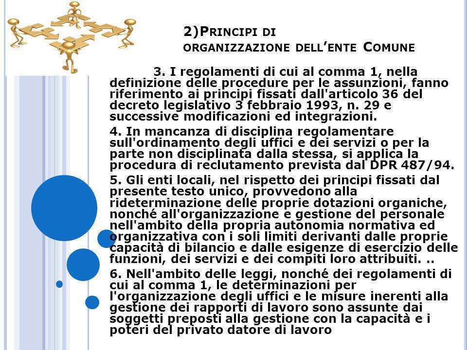 2)P RINCIPI DI ORGANIZZAZIONE DELL ' ENTE C OMUNE 3. I regolamenti di cui al comma 1, nella definizione delle procedure per le assunzioni, fanno rifer