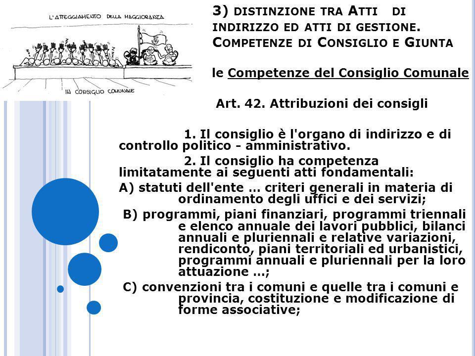 3) DISTINZIONE TRA A TTI DI INDIRIZZO ED ATTI DI GESTIONE. C OMPETENZE DI C ONSIGLIO E G IUNTA le Competenze del Consiglio Comunale Art. 42. Attribuzi