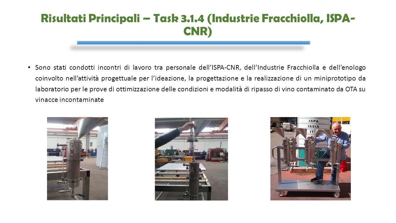 Risultati Principali – Task 3.1.4 (Industrie Fracchiolla, ISPA- CNR) Sono stati condotti incontri di lavoro tra personale dell'ISPA-CNR, dell'Industri