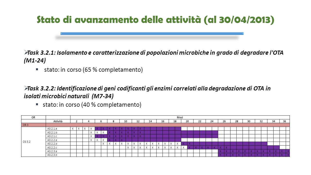Stato di avanzamento delle attività (al 30/04/2013)  Task 3.2.1: Isolamento e caratterizzazione di popolazioni microbiche in grado di degradare l'OTA