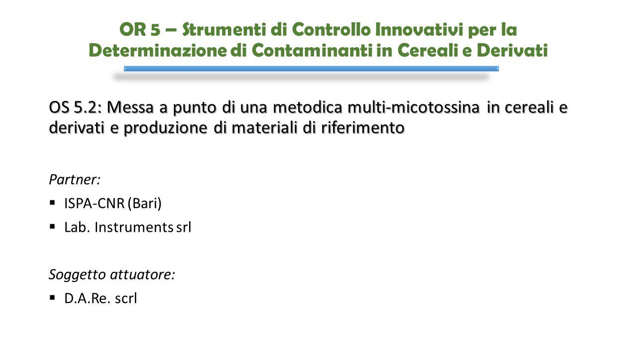 OR 5 – Strumenti di Controllo Innovativi per la Determinazione di Contaminanti in Cereali e Derivati OS 5.2: Messa a punto di una metodica multi-micot
