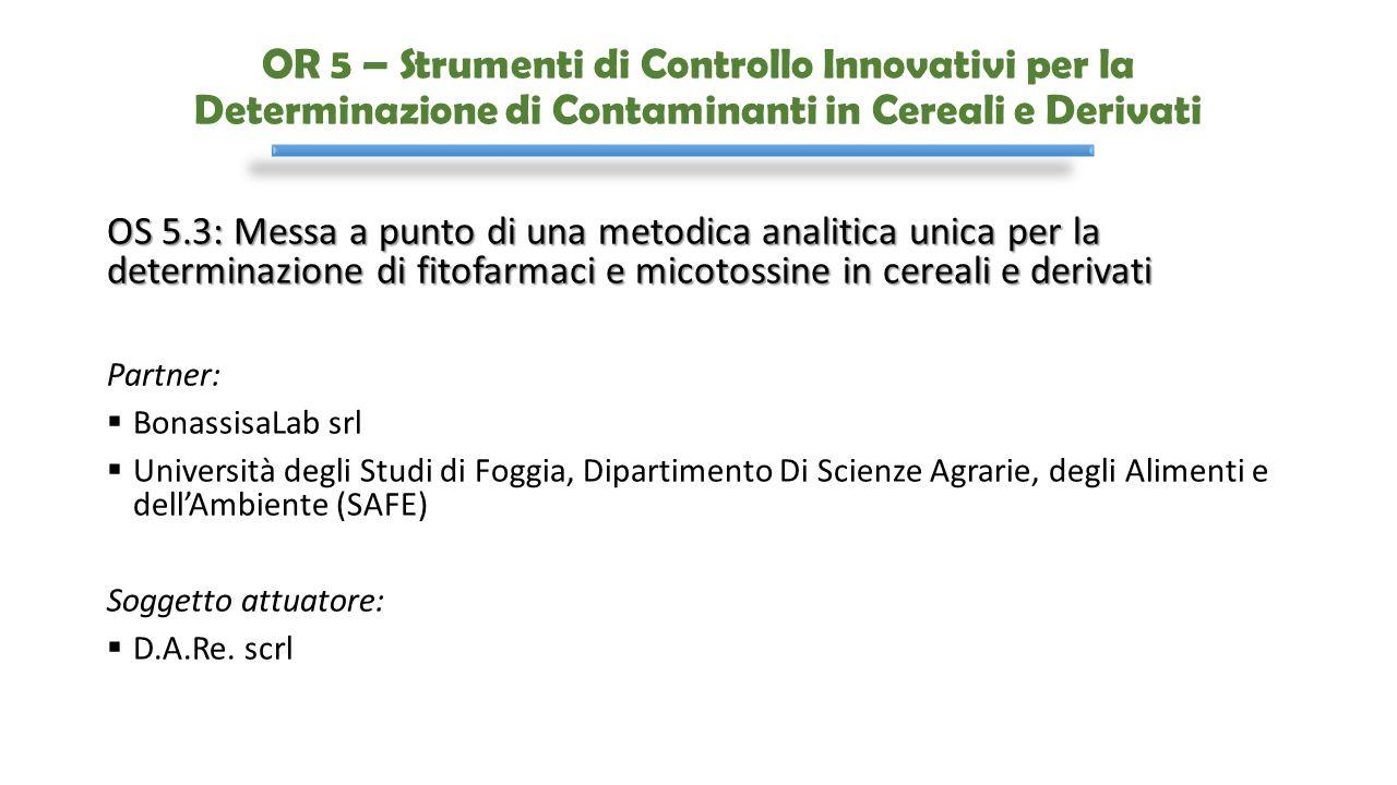 OR 5 – Strumenti di Controllo Innovativi per la Determinazione di Contaminanti in Cereali e Derivati OS 5.3: Messa a punto di una metodica analitica u