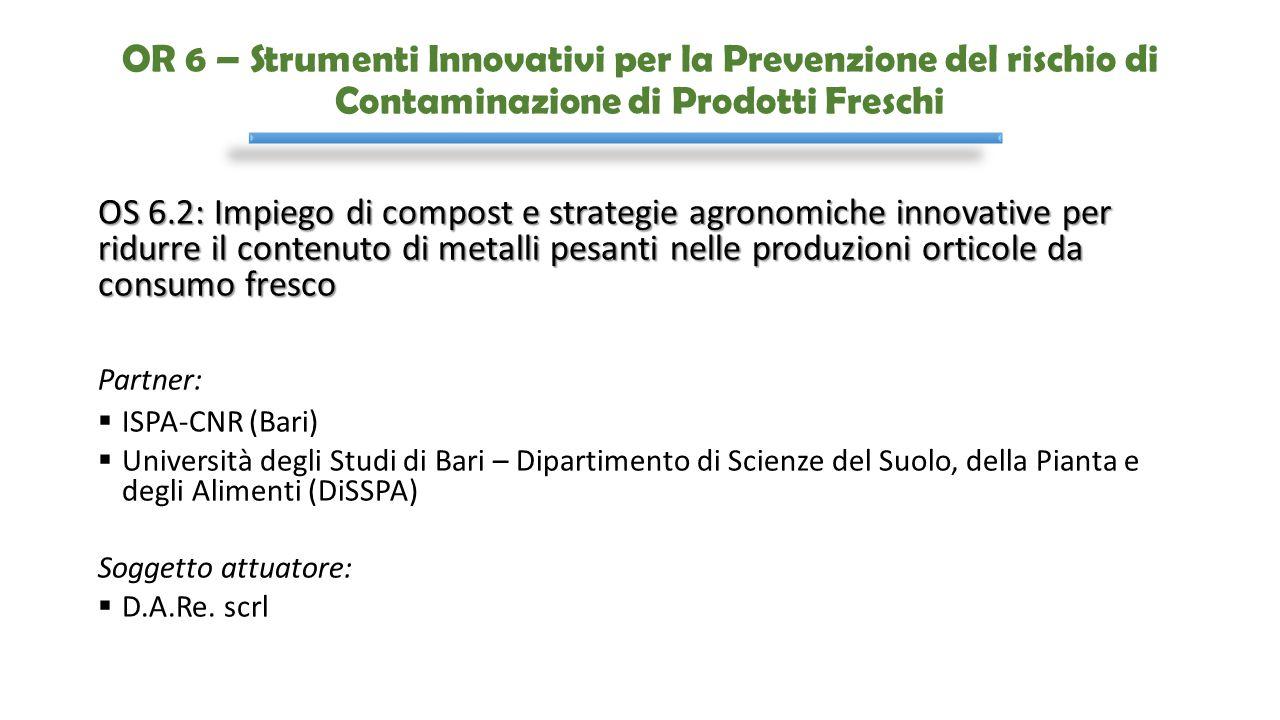 OR 6 – Strumenti Innovativi per la Prevenzione del rischio di Contaminazione di Prodotti Freschi OS 6.2: Impiego di compost e strategie agronomiche in