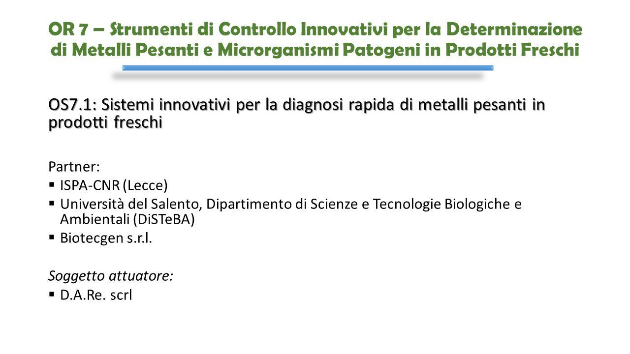 OR 7 – Strumenti di Controllo Innovativi per la Determinazione di Metalli Pesanti e Microrganismi Patogeni in Prodotti Freschi OS7.1: Sistemi innovati